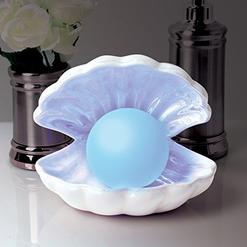 What on Earth Color-Changing Pearl in Shell Light - Iridescent LED Accent Lamp Portable Night Light