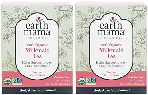 Organic Milkmaid Tea by Earth Mama   Supports Healthy Breastmilk Production and Lactation, Herbal Breastfeeding Tea Supplement, 16 Teabags per Box (2-Pack)