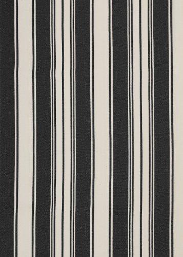 LINUM Tischdecke, beschichteter Baumwollstoff 150cm breit, ERNEST G0H schwarz und beige gestreift, wasserabweisende Meterware