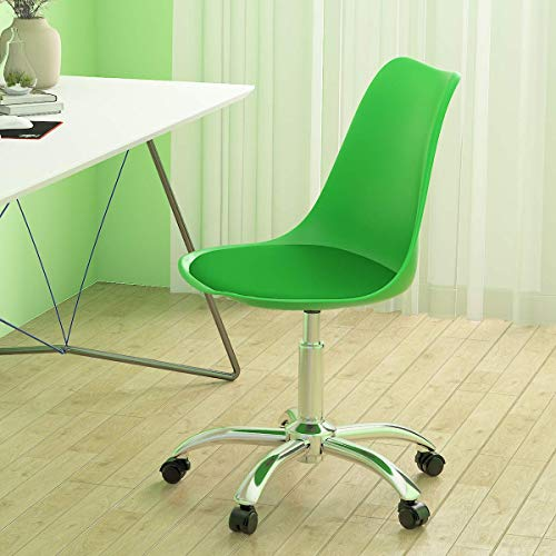 Computer Desk Chair for home, Adjustable Height Computer Chair with Padded PP Seat for Office Lounge Reception Swivel Chair, Green