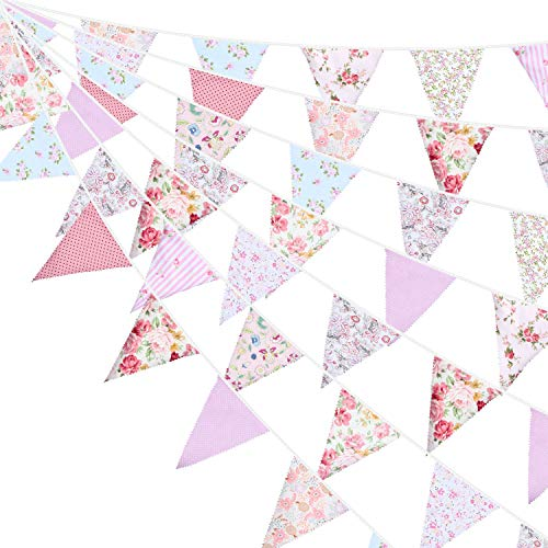 49,2 Pies de Bandera de Empavesado de Tela Bandera de Triángulo Rosa y Verte Guirnaldas de Banderines para Boda Bautismo Fiesta de Cumpleaños Decoración de Jardín Actividad Exterior