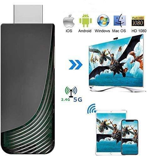 iBosi Cheng WiFi Display Dongle, 2.4G 5G Wireless Display Receiver HDMI 1080P TV Dongle, Airplay Dongle para iOS y Android Smartphone, Mac OS y Windows PC (Schwarz B)