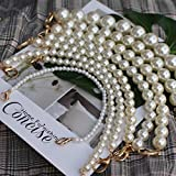 QINQ Marca Correa de Perlas para Bolsos Accesorios de Bolso Monedero Asas de cinturón Cadena de Cuentas Tote Partes de Mujer Plata OroCierre Negro, 25 mm herrajes Dorados, 30 cm