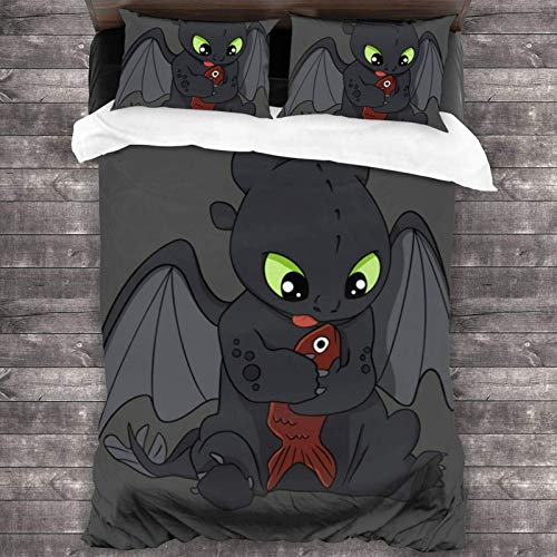 LREFON 3-Piece Bedding Set Twin Size 86'x70' Night Fury How to Train Your Dragon Soft Comfy Lightweight Quilt Cover Pillowcases