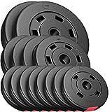 Disques de Poids Hop-Sport Poids en Plastique de 30 kg dans Trois Variantes au Choix (Set B)