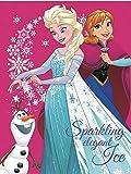 Frozen Eiskönigin Decke XXL Kuscheldecke Anna & ELSA Tagesdecke (Pink, 120 x 150 cm)