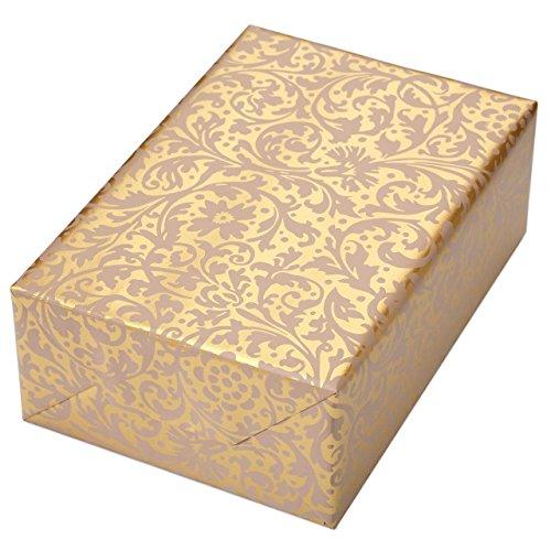 Papel de regalo rollo 50 cm x 50 m, diseño brocado dorado, adornos en color crema mate en un color dorado nacarado. Para cumpleaños, bodas, Navidad. Papel de regalo de Navidad.