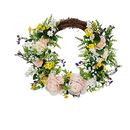 ZQCM Artificial Wreath, Door Wreath Spring Wreath Round Wreath for The Front Door, Home Decor, Pre-Lit Decorated Christmas Decoration, B