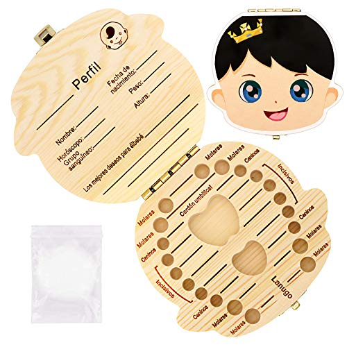 JTENG Denti salva box per bambini e bambina, Scatola porta dentini da latte,Bambini in legno ricordo regalo, Accumulazione dei denti (Ragazzo)