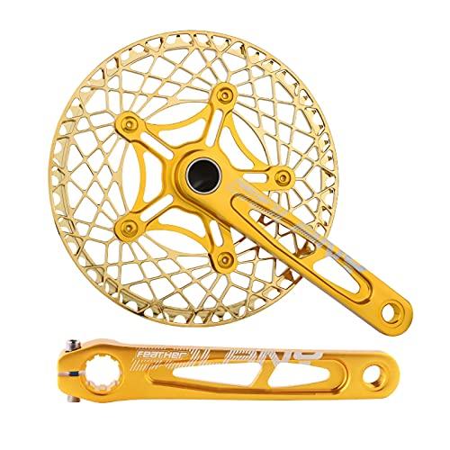 LICHUXIN Juego Manivelas para Bicicleta Plegable 170 Mm, Manivela Cinco Mordazas Integrada Bicicleta 130BCD con Plato 53 / 56T, Bicicleta Carretera Y Piezas Reparación Bicicletas Plegables,Oro,56T