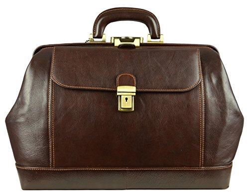 Bolso médico de cuero con cerradura de llave, bolso médico de grano completo, maletín teñido por vegetales bronceado para Satchel Vintage Unisex - Resistencia al tiempo