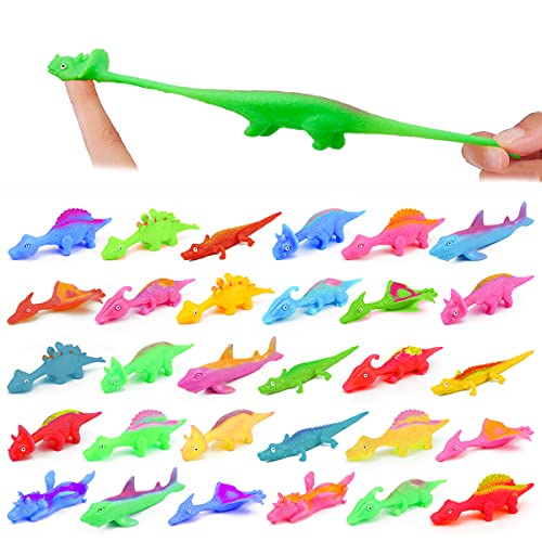 30 Pcs Slingshot Dinosaur Finger Toys, Catapult Toys as Fun as Slingshot Chicken, Cute Shapes, More Colors, Great for Flying Games and Party Favors.