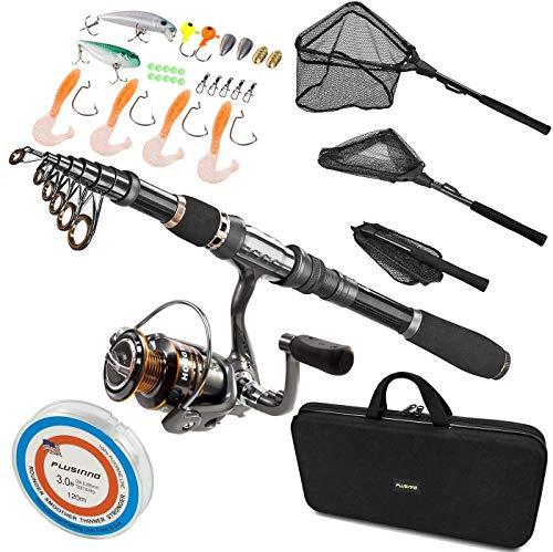 PLUSINNO Fishing Rod and Reel CombosII, Fishing Net,Saltwater Freshwater Resistant Fishing Gear