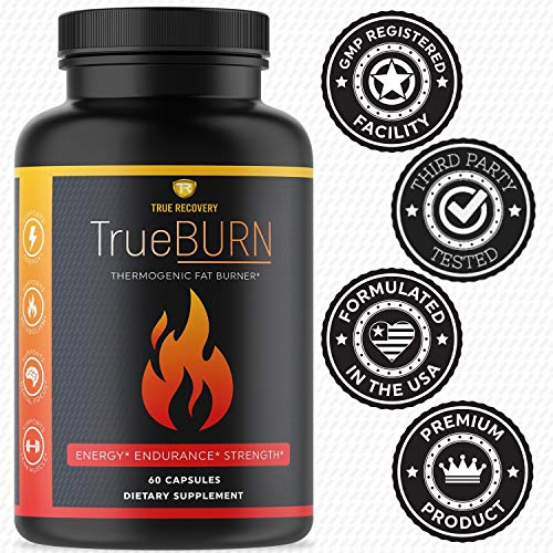 True Recovery TrueBURN Thermogenic Fat Burner & Appetite Suppressant Weight Loss Supplement with Yohimbe Bark, Green Tea Extract + EGCG and Raspberry Ketones - 60 Weight Loss Pills for Men and Women 6