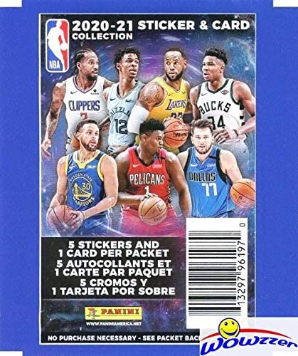 2020/21 Panini NBA Basketball Stickers Collection of 6 Factory Sealed Packs with 30 Brand New Stickers & 6 Cards! Look for LaMelo Bal, Lebron James, Zion Williamson, Luka Doncic & Many More! WOWZZER!