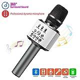 ERAY Micrófono Inalámbrico Karaoke Bluetooth 4 en 1, Batería de 2600mAh, Soporta TF Tarjeta, 3.5mm AUX, Compatible con PC/iPad/Smartphone, Color Negro