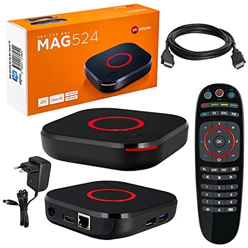 mag 524 Original Infomir & HB-DIGITAL 4K IPTV Set Top Box Reproductor Multimedia Internet TV Receptor IP # 4K UHD 60FPS 2160p@60 FPS HDMI 2.0# Soporte HEVC H.256 # Arm Cortex-A53 + Cable HDMI