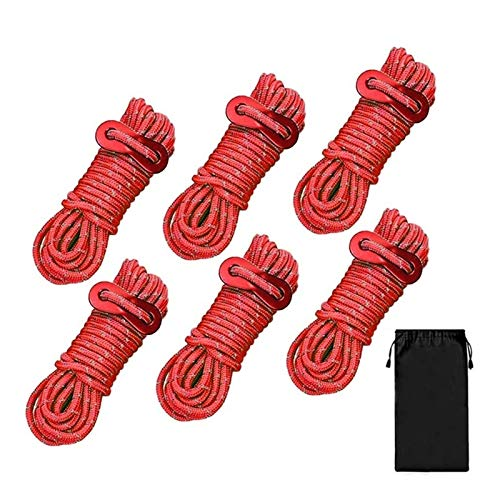 LaiYueShangMao Multi-functional 4mm Outdoor Tent Cords Lightweight Reflective Cord Camping Rope for Tent,Canopy Shelter,Camping,Hiking,Backpacking for Camping Outdoor Garden (Color : Red)