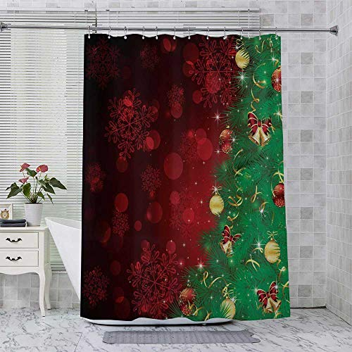 GUUVOR Jingle Bells Trees Hotel Quality Polyester Shower Curtain Christmas Burgundy Green Shower and Bathtub W70 x L84 Inch