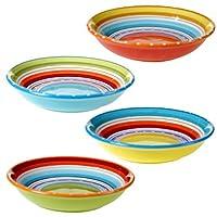 "Certified International 25627SET/4 Mariachi Soup/Pasta Bowl (Set of 4), 9.25"", Multicolor [並行輸入品]"