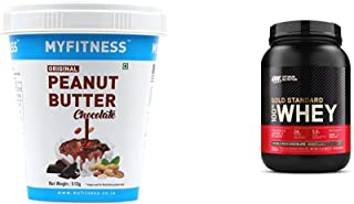 MYFITNESS Chocolate Peanut Butter 510g & Optimum Nutrition (ON) Gold Standard 100% Whey Protein Powder - 2 lbs, (Double Ri...