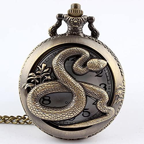 UIOXAIE Reloj de Bolsillo Retro Antiguo Zodiaco Chino Colgante Collar para Hombre Redondo Bronce Bolsillo Fob Reloj niño URSS Regalos Perro, Serpiente