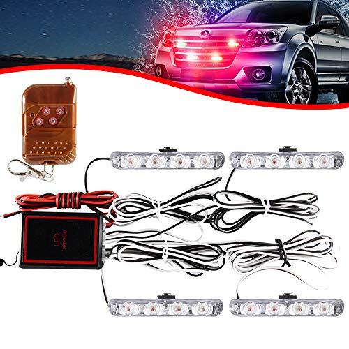 4x4 LED 4 en 1 Remoto Inalámbrico Luz de Advertencia Estroboscópica DC12V Intermitente de Emergencia Lámpara de Baliza Advertencia Estroboscópica Luz Externa de Emergencia(Rojo)