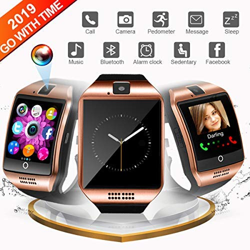 Bluetooth Smart Watch, Smartwatch Touch Screen Sport Wrist Watch Smartwatch Phone Fitness Tracker with Camera Pedometer SIM TF Card Slot for Samsung Android for Men Women Senior Youth, Gold