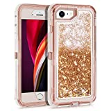 WESADN for iPhone SE 2020 Case, iPhone 7/8 Case for Girls Women Cute Glitter Protective Bling Sparkle Heavy Duty Full Body Protection Shockproof Gradient Cover for iPhone SE2 6 6s 7 8,Light Brown