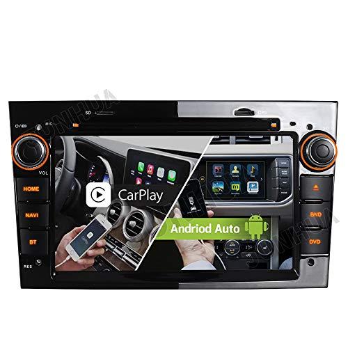 Dual-Tuner FM Autoradio 2GB+32GB Android Auto 10 Carplay Rohm-DSP Bluetooth 5.0 WiFi 4G USB CD DVD Navigation GPS für OPEL Astra H G Corsa C D Vivaro Antara Vectra Zafira (Klavier Schwarz)