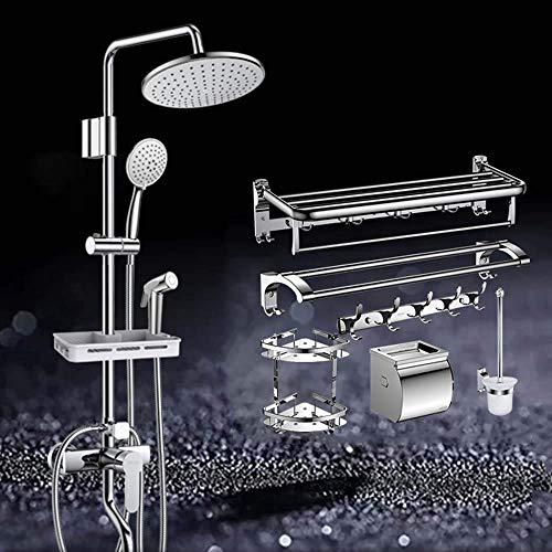 Sistema de ducha Sistema mezclador de ducha, Mezclador de ducha de 4 funciones con cabezal de ducha Rociador trasero Pistola rociadora de mano para ducha y toallero de acero inoxidable Sistema de du