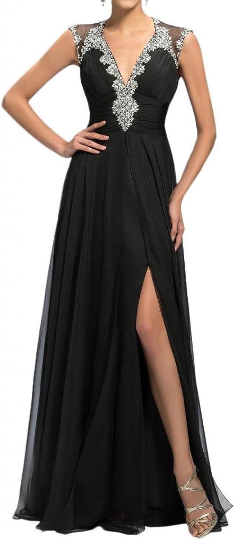 Angel Bride ALine FloorLength VNeck Open Back Side Split Evening Gowns