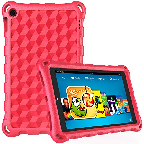 "Case for H D 10 Tablet (9th/5th/7th Generation, 2019/2015/2017 Release)-Dinines Light Weight Shock Proof Kids Case for H D 10.1"" Tablet,Red Indiana"