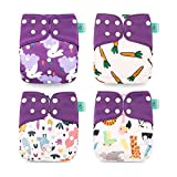 Wenosda 4PCS Pañales de tela para bebés Fibra de café Pañales de bolsillo Pañales reutilizables lavables Inserte el pañal de bolsillo todo en uno para la mayoría(Nabo de Conejo Morado (Mejora))