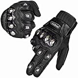 ILM Alloy Steel Leather Hard Knuckle Touchscreen Motorcycle Bicycle Motorbike Powersports Racing Gloves (L, (LEATHER) BLACK)