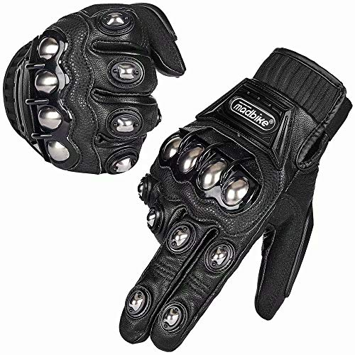 ILM Alloy Steel Leather Hard Knuckle Touchscreen Motorcycle Bicycle Motorbike Powersports Racing Gloves (XXL, (LEATHER) BLACK)