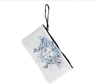 Canvas Coin Purse Zipper Coin Holder Mini Wallet Bags Cosmetic Makeup Bags,Kitsune Japan Culture Triangle Sakura Flowers