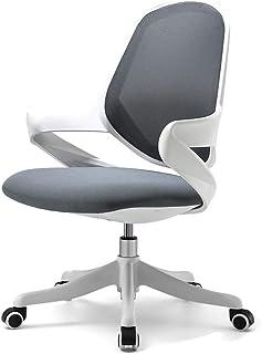 Silla para juegos de computadora, Silla de trabajo Conferencia Ejecutivo acanalado escritorio de oficina Silla con respaldo medio de rejilla Silla giratoria ajustable con armas (66x66x87-95.5cm, gris)
