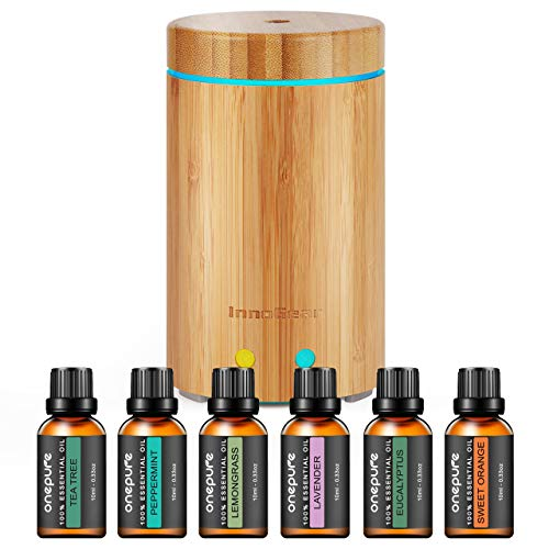 InnoGear Real Bamboo Essential Oil Diffuser with 6 Bottles 100% Pure Aromatherapy Essential Oils Ultrasonic Aroma Diffuser Set Cool Mist Humidifier Gift Set for Bedroom Home Office