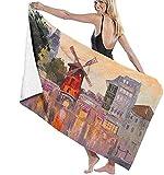 Toallas de playa para adultos Moulin Rouge Paris Francia - Toalla de playa ligera, ideal para familias, hoteles, viajes, natación, fitness, 81 x 132 cm