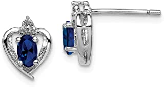 925 Sterling Silver Created Sapphire Diamond Post Stud Earrings Set Birthstone September Love Fine Jewelry Gifts For Women For Her
