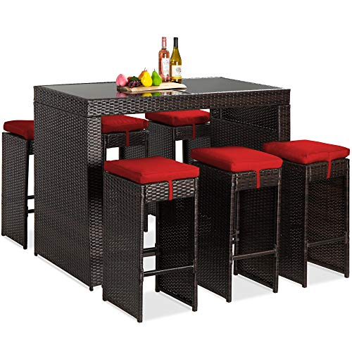 Best Choice Products 7-Piece Outdoor Wicker Bar Dining Set, Rattan Patio Furniture for Backyard, Garden w/Glass Table Top, 6 Stools, Removable Cushions - Brown/Red