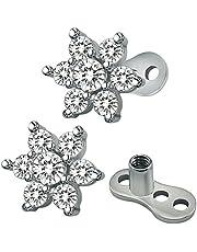 ZeSen Jewelry 14 g de flores circonio cúbico dérmica ancla parte superior y base de acero quirúrgico Microdermals Perforacións