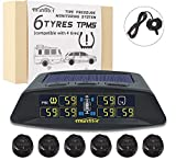 Tire Pressure Monitoring System for RV Trailer Camper Car, Solar / USB Charge, 5 Alarm Modes, Auto Backlight & Sleep & Awake Mode, with 6 External Tire Pressure Sensor (0-199psi) and 1 Signal Repeater