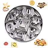 Cookie Biscuit Cutters Xmas Stainless Steel Geometric Hearts Flowers Stars Triangles Mini Cutters Baking Molding Cake Icing Sugarcraft Fondant 24Pcs