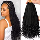 7 Packs 18 Inch Box Braids Crochet Braids with Curly Ends 3X Goddess Box Braids Crochet Hair Extension 20 Strands/Pack (18 Inch, 1B#)