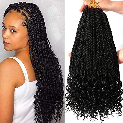7 Packs 18 Inch Crochet Box Braids Hair with Curly Ends Prelooped Goddess Box Braids Crochet Hair Braiding Hair Crochet Braids Hair for Black Women (18 Inch 7 Packs, 1B#)