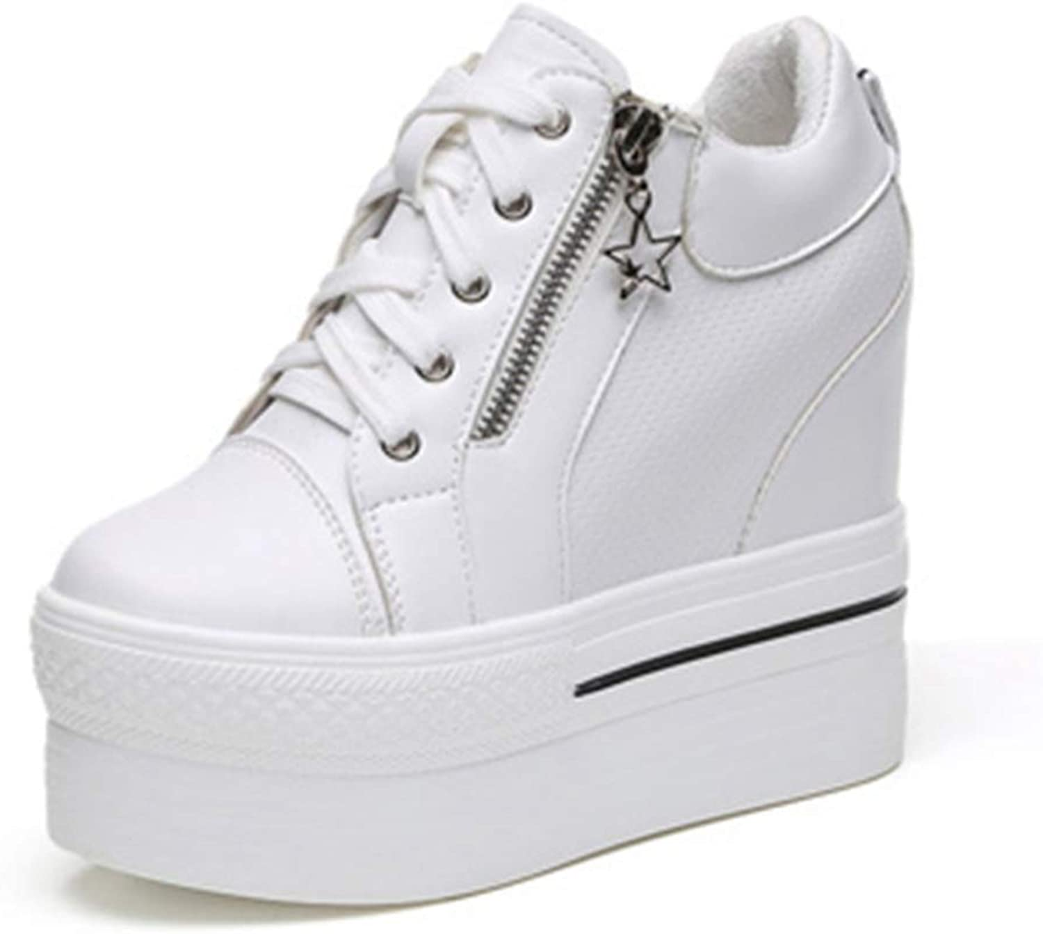 Wallhewb Women's Casual shoes Thick High Heels Increased Internal Wedges Platform shoes White Black Zipper Sneakers Slip On Rubber Sole with Heel Girls Tennis shoes White 6 M US Casual shoes