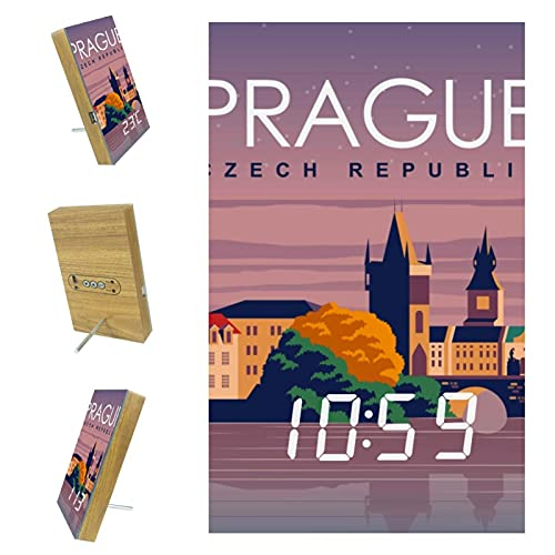 Day Clock LED Digital Desk & Wall Alarm Day Clock with Date and Time, Battery Backup Prague Travel Poster