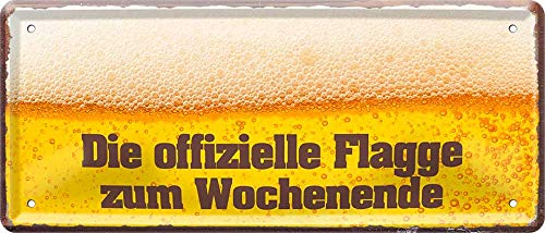 """Blechschilder Bier lustiger Spruch: """"DIE OFFIZIELLE Flagge ZUM Wochenende"""" Deko Schild für Bar Theke oder Pub Geschenkidee 28x12 cm"""